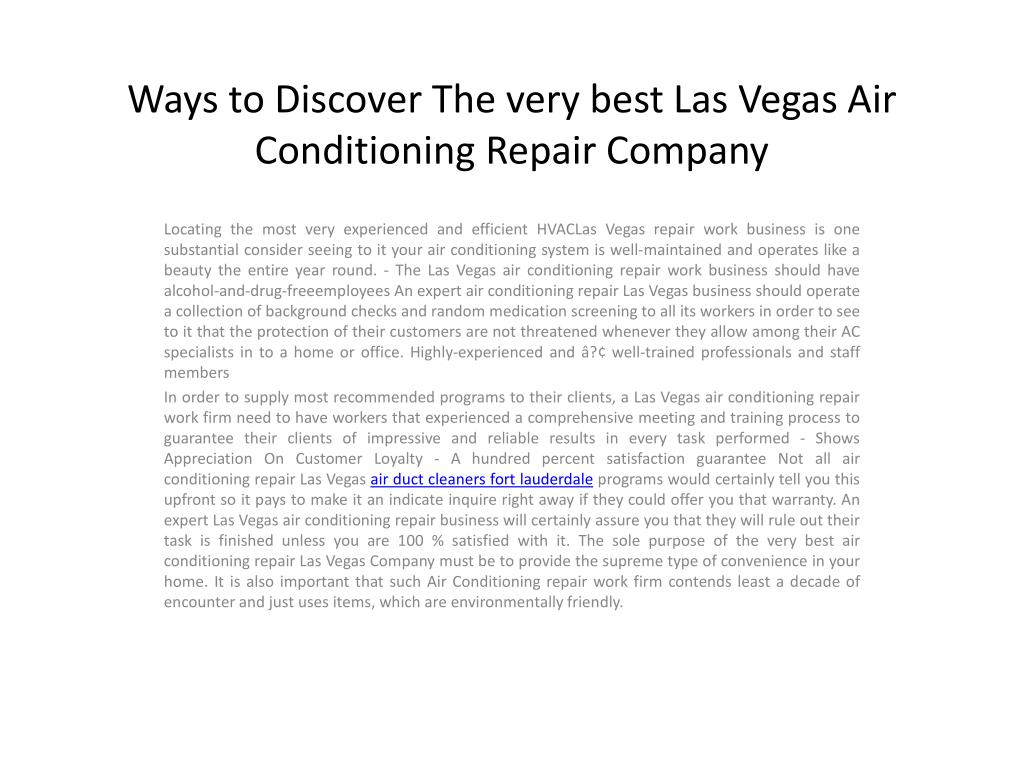 Ways to Discover The very best Las Vegas Air Conditioning Repair Company