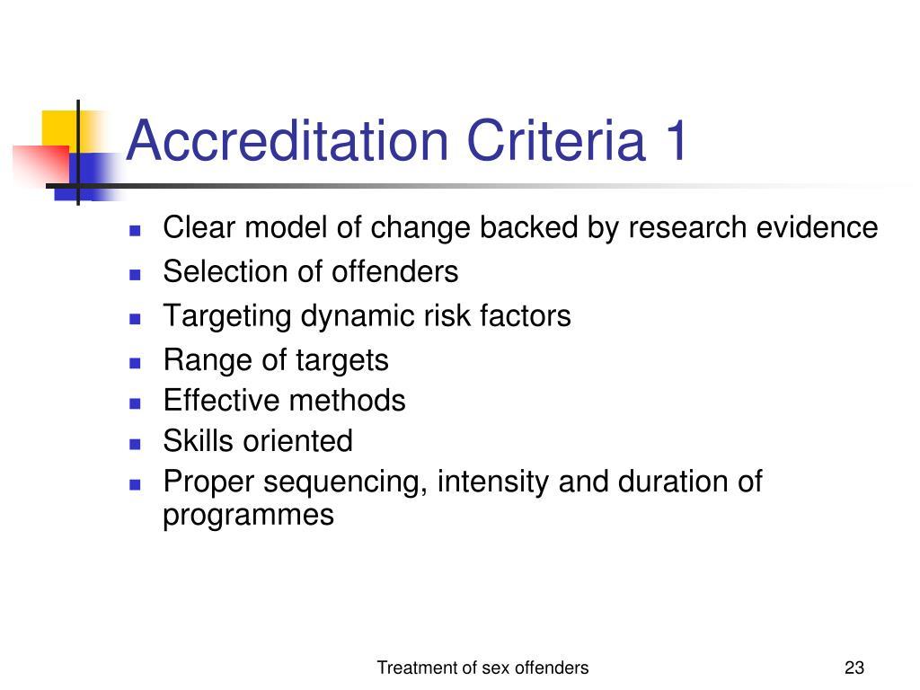 Accreditation Criteria 1