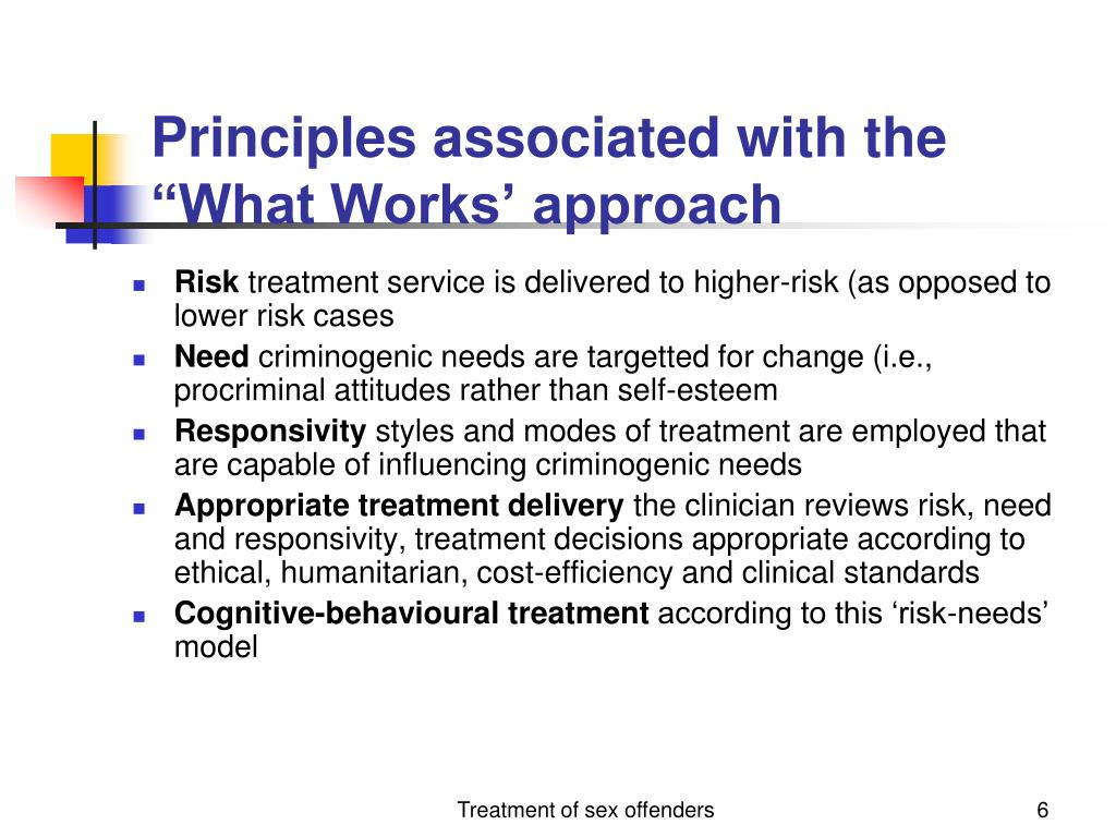 """Principles associated with the """"What Works' approach"""
