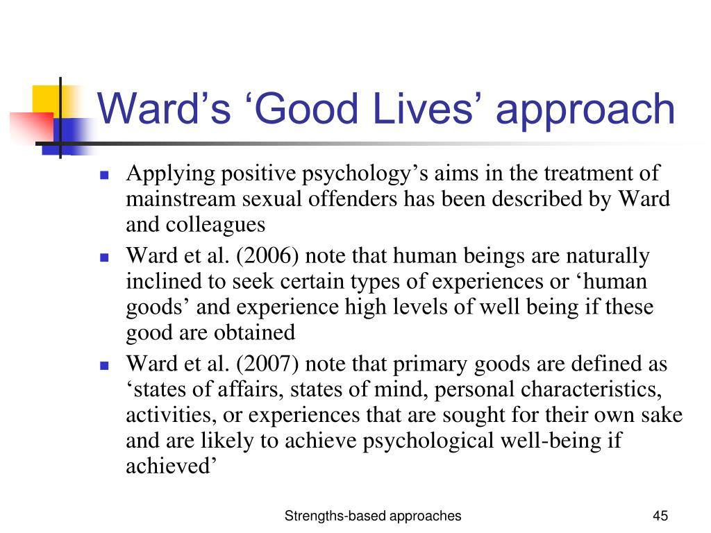 Ward's 'Good Lives' approach