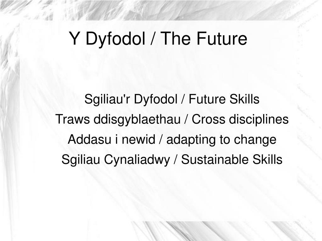 Y Dyfodol / The Future