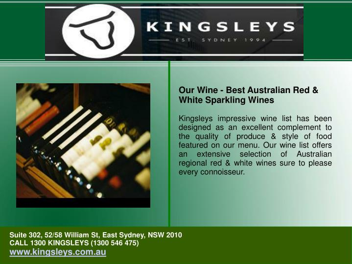 Our Wine - Best Australian Red & White Sparkling Wines