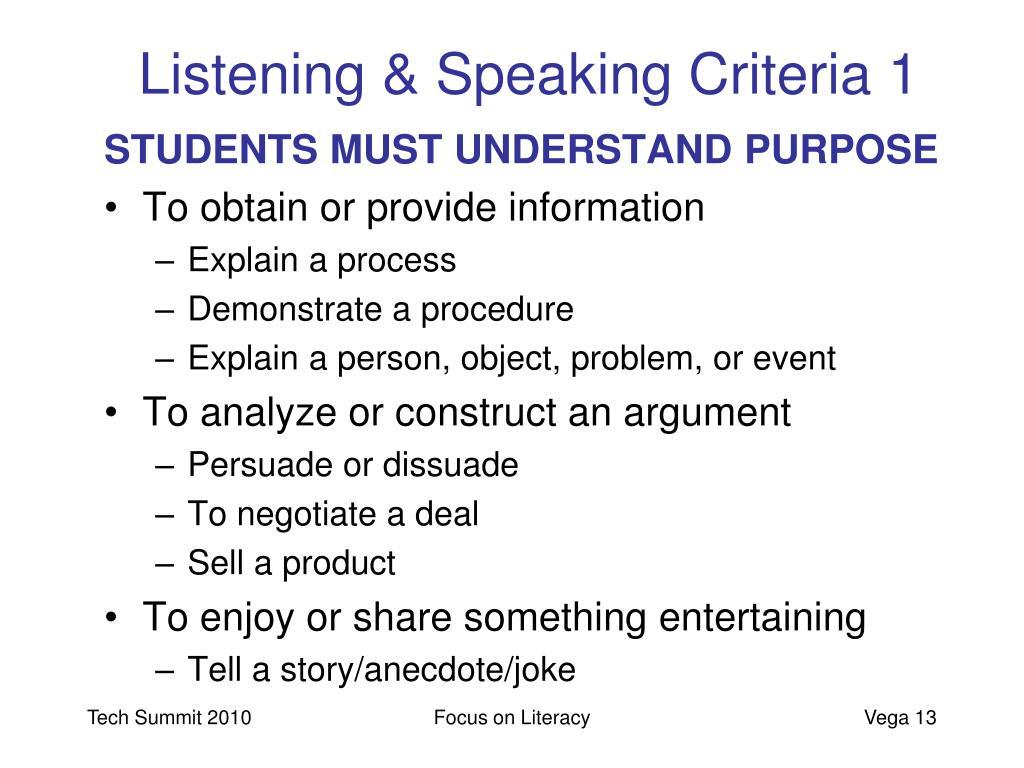 Listening & Speaking Criteria 1