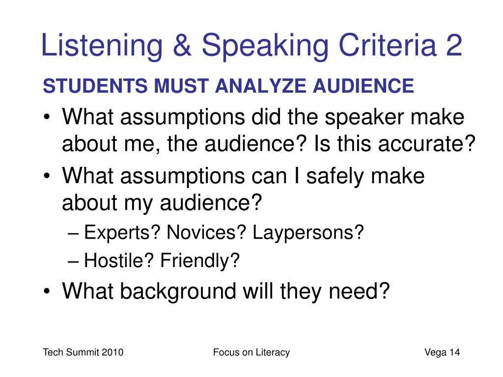 Listening & Speaking Criteria 2