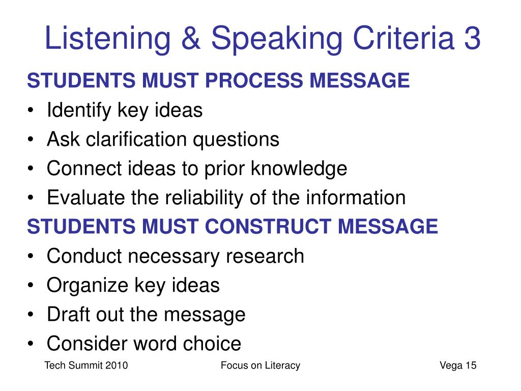 Listening & Speaking Criteria 3