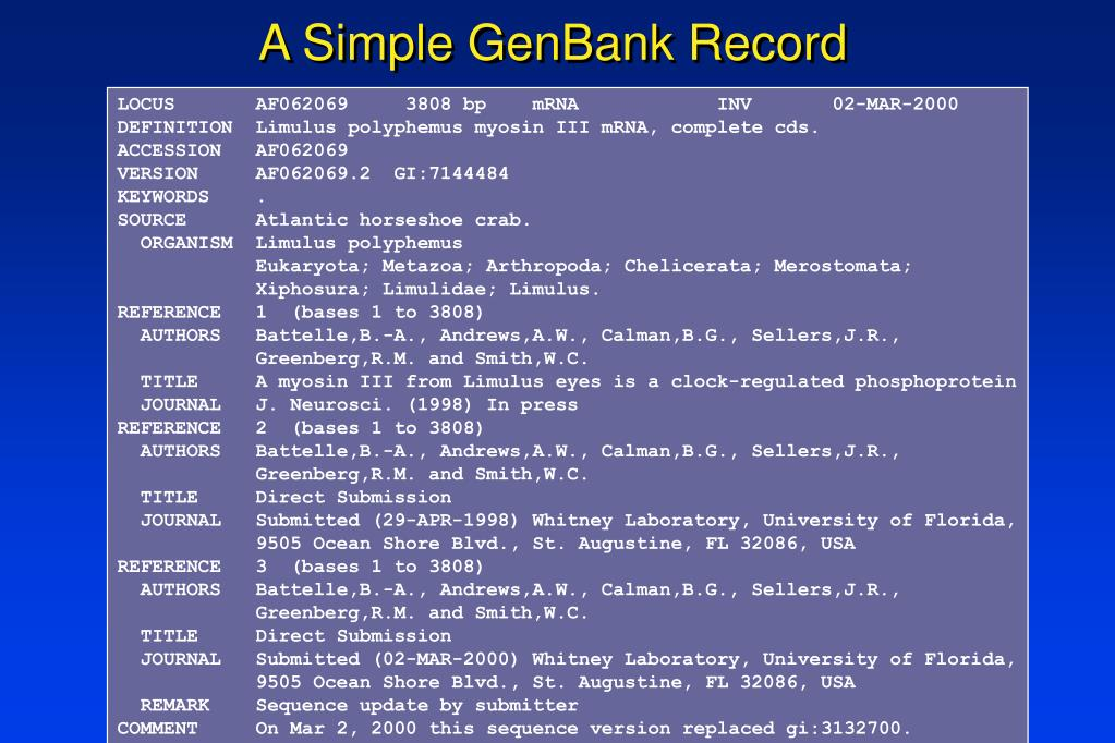 A Simple GenBank Record