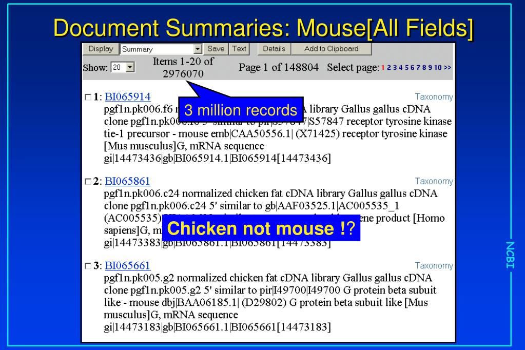 Document Summaries: Mouse[All Fields]