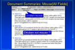 document summaries mouse all fields