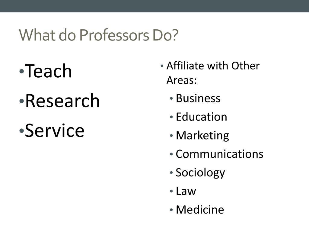 What do Professors Do?