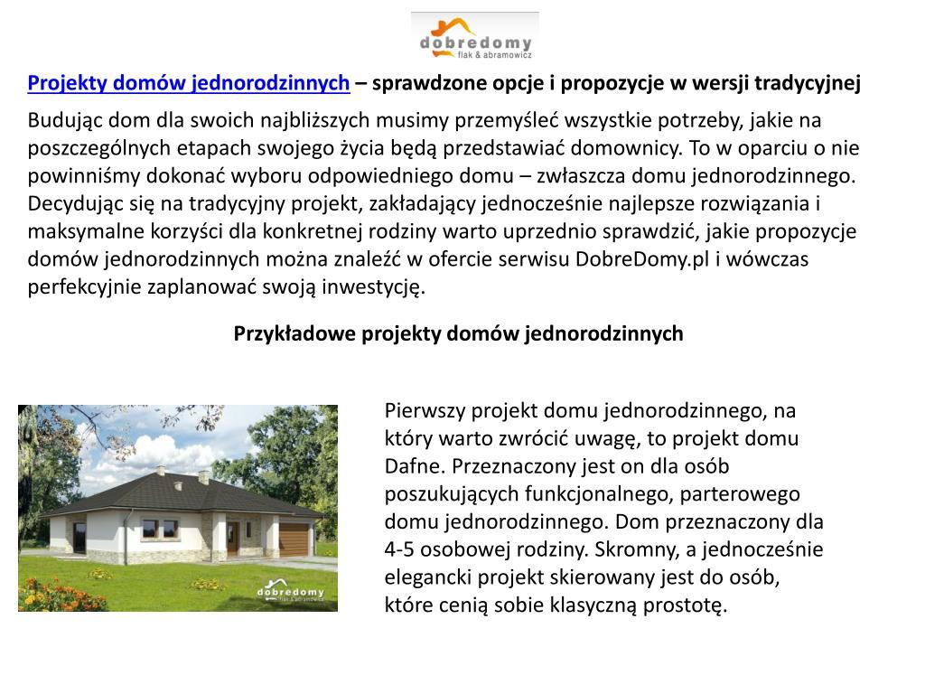 Projekty domów jednorodzinnych