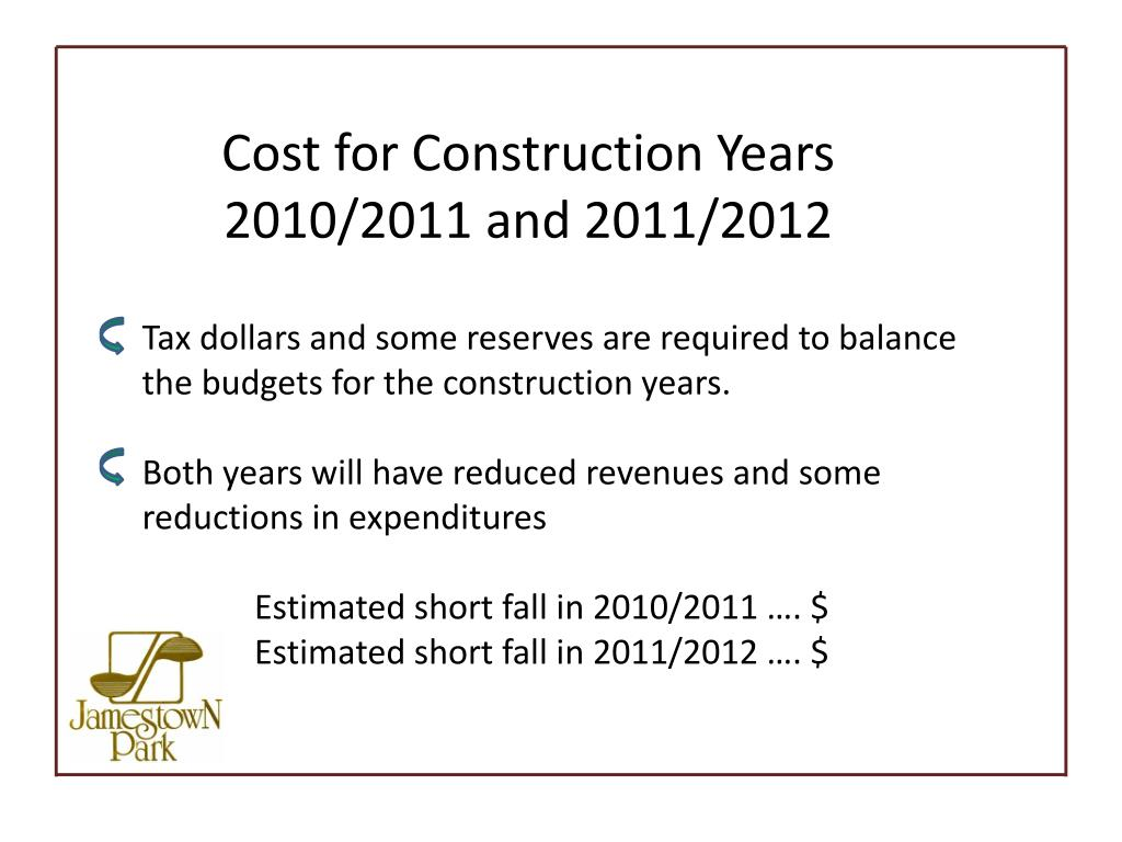 Cost for Construction Years 2010/2011 and 2011/2012