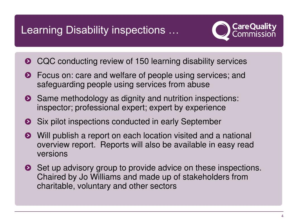 Learning Disability inspections …