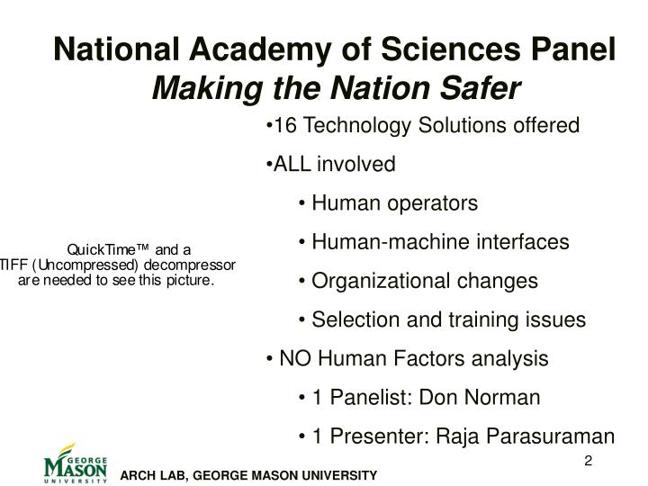 National academy of sciences panel making the nation safer