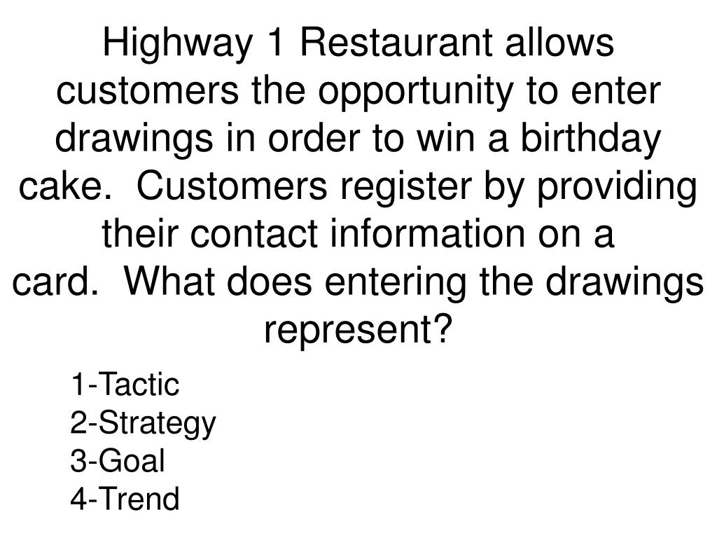 Highway 1 Restaurant allows customers the opportunity to enter drawings in order to win a birthday cake. Customers register by providing their contact information on a card. What does entering the drawings represent?