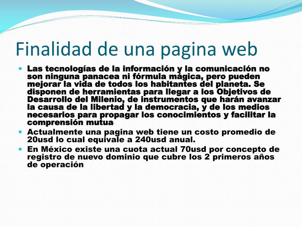 Finalidad de una pagina web