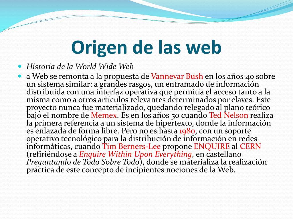 Origen de las web