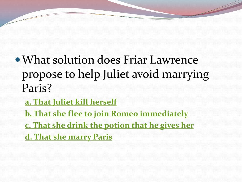 What solution does Friar Lawrence propose to help Juliet avoid marrying Paris?