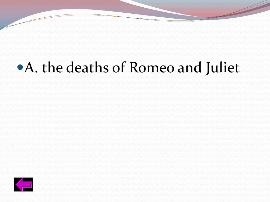 A. the deaths of Romeo and Juliet