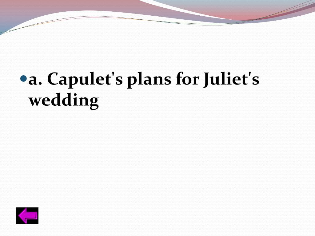 a. Capulet's plans for Juliet's wedding