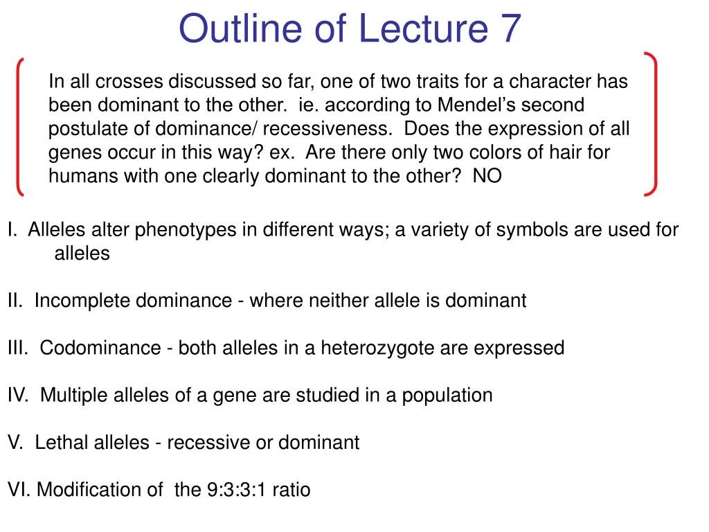 Outline of Lecture 7