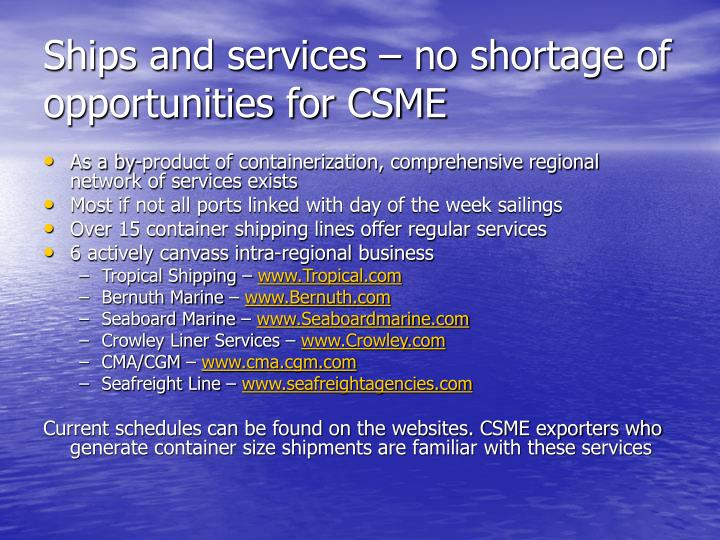 Ships and services – no shortage of opportunities for CSME