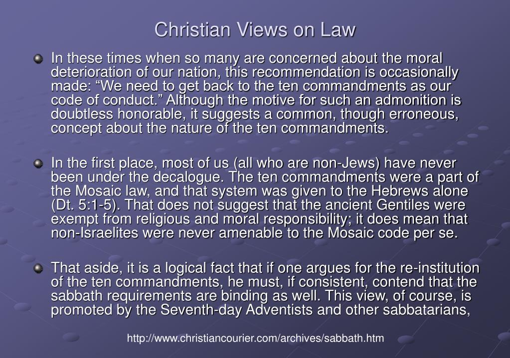 Christian Views on Law