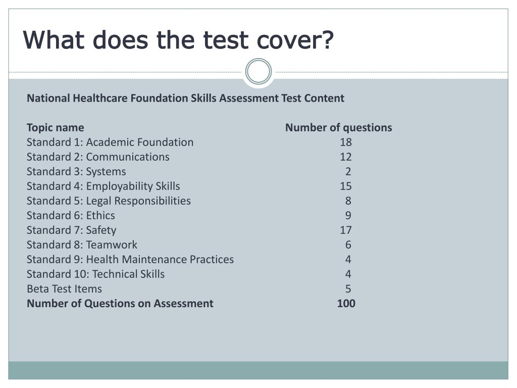 What does the test cover?