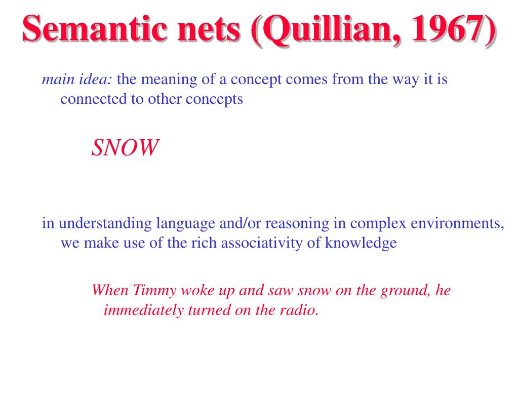 Semantic nets (Quillian, 1967)
