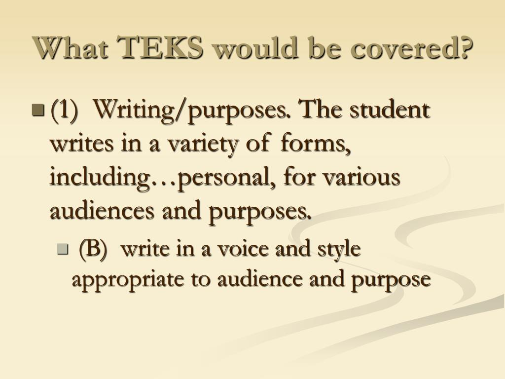 What TEKS would be covered?