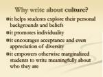 why write about culture