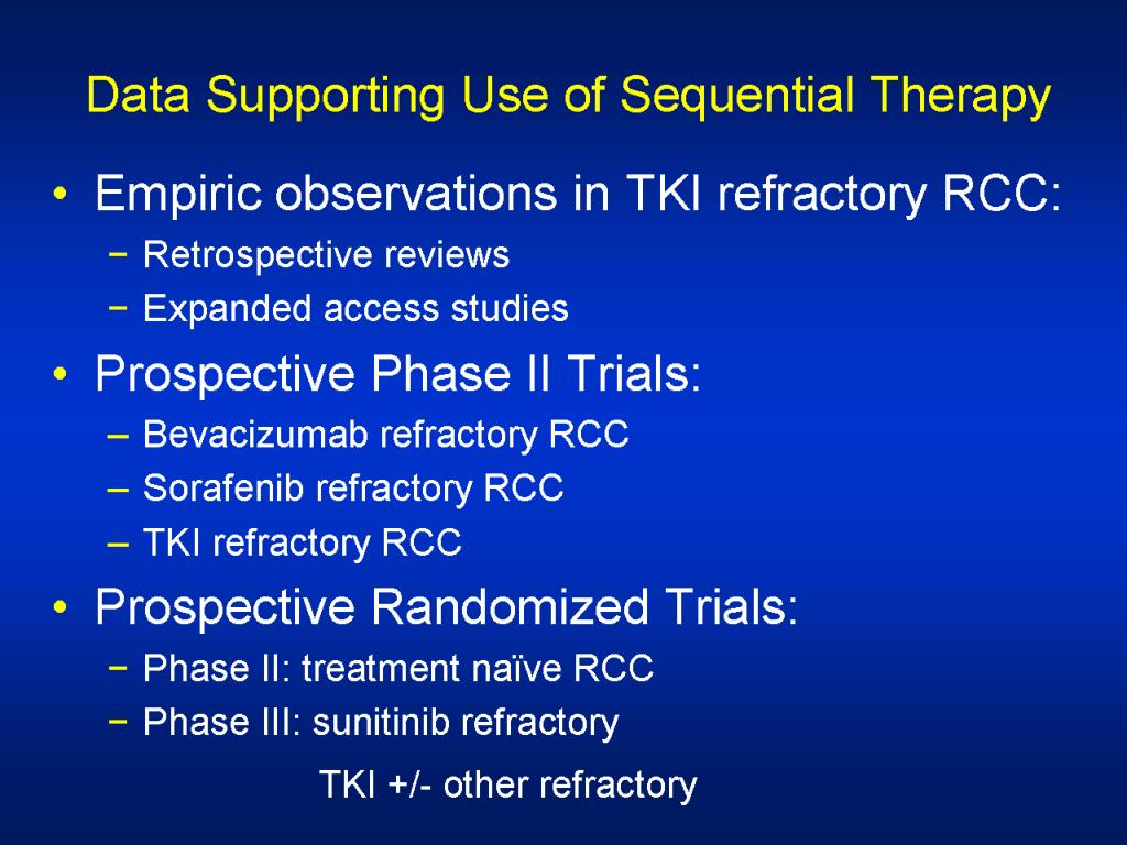 Data Supporting Use of Sequential Therapy