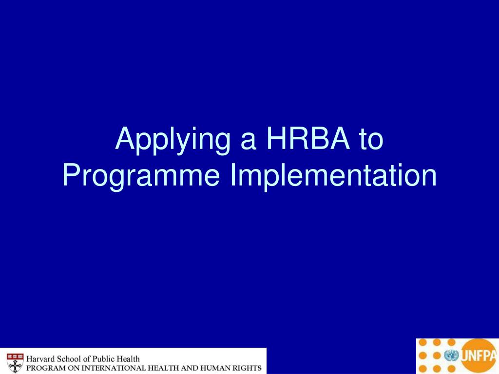 Applying a HRBA to Programme Implementation