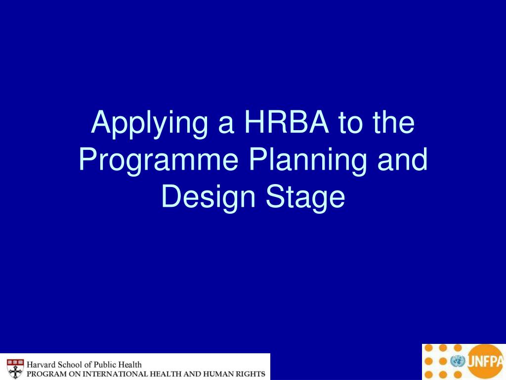 Applying a HRBA to the Programme Planning and Design Stage