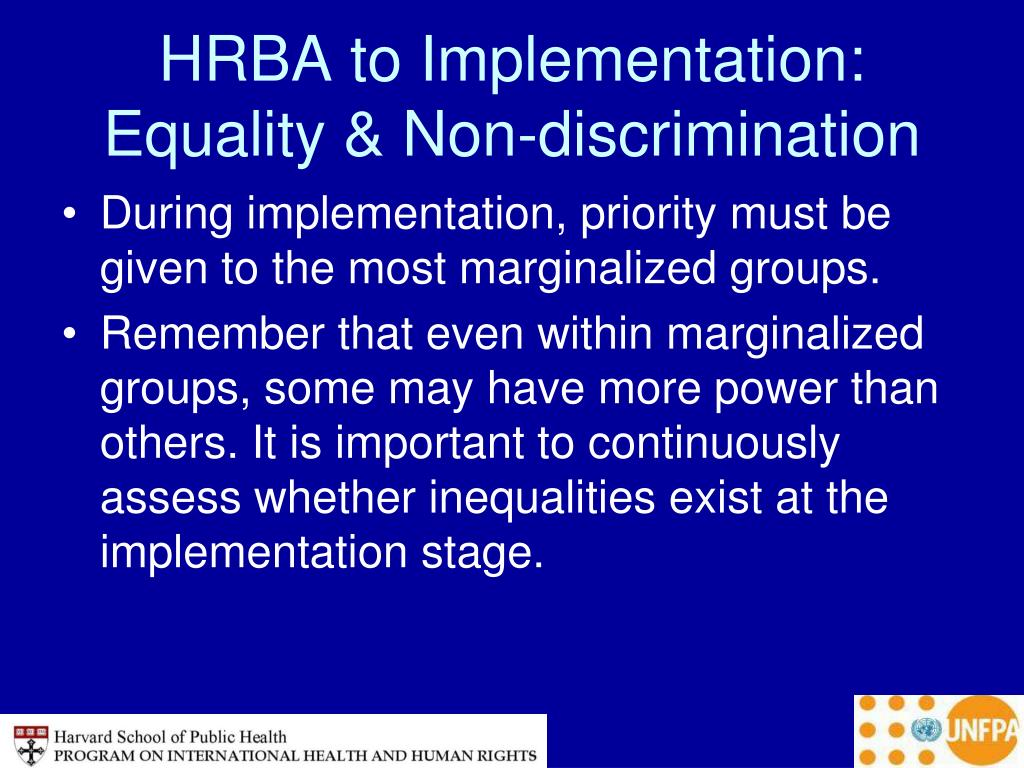 HRBA to Implementation: Equality & Non-discrimination