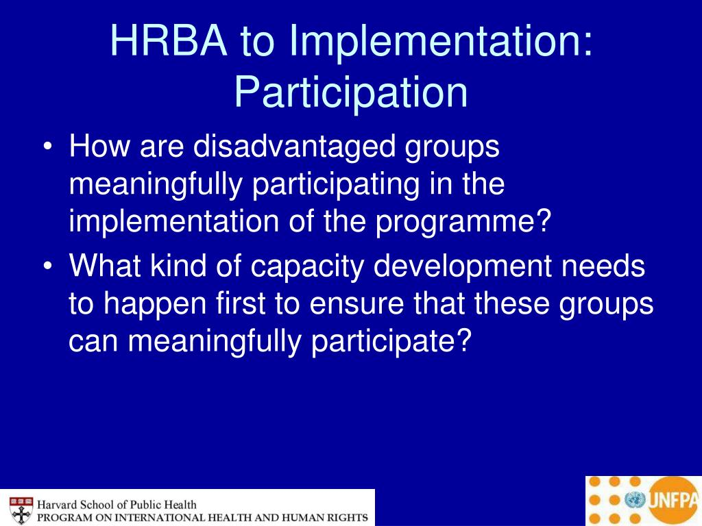 HRBA to Implementation: Participation