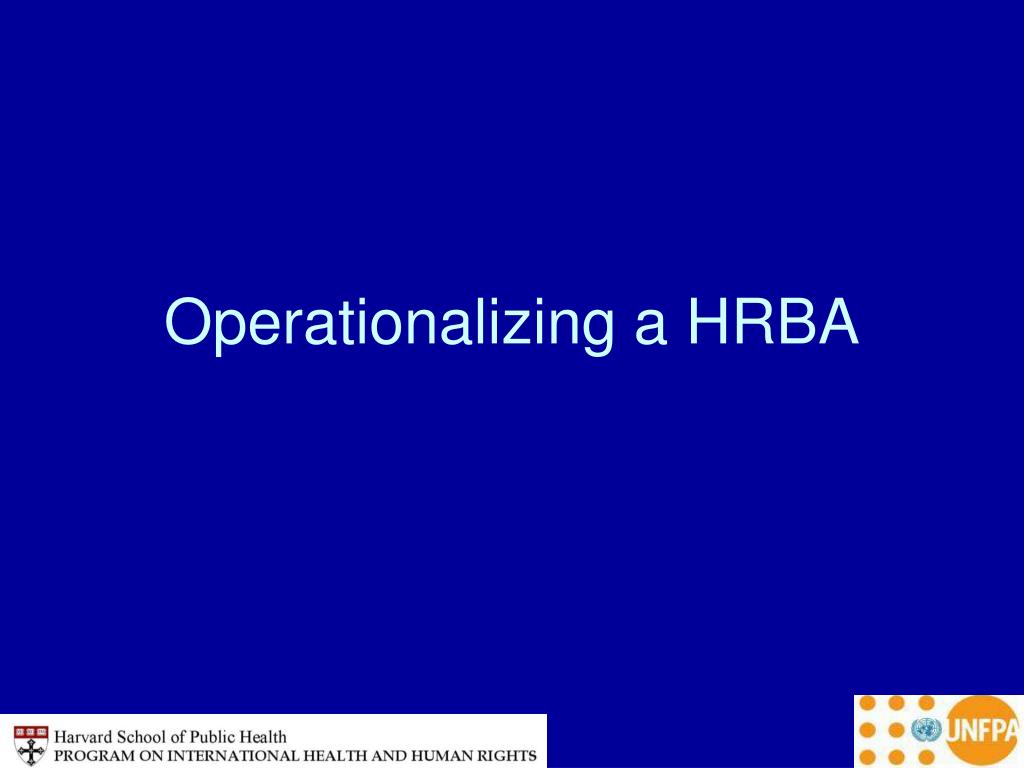 Operationalizing a HRBA