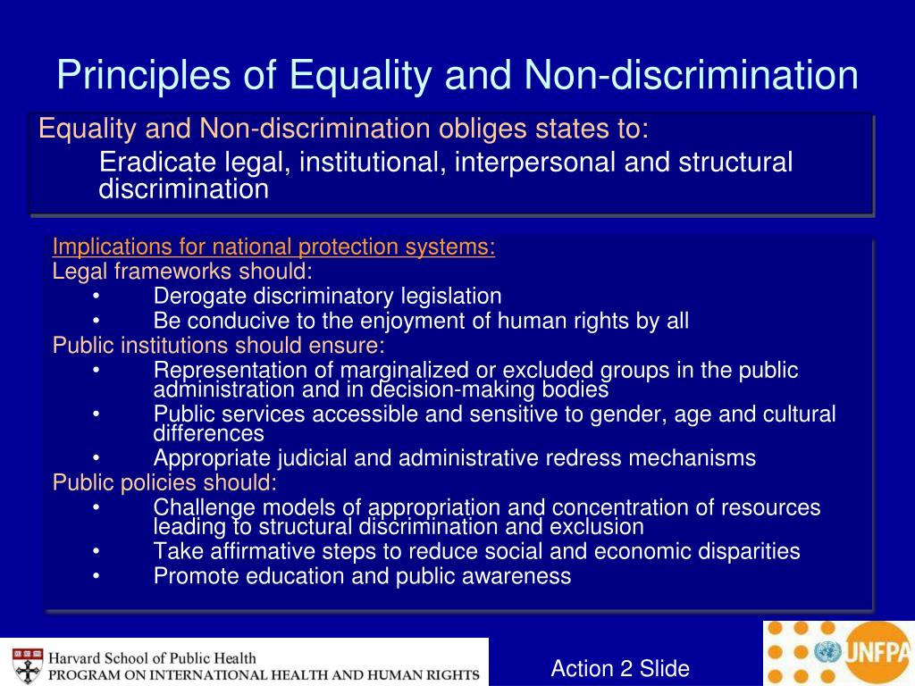 Principles of Equality and Non-discrimination