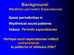 background rhythmic periodic expectancies