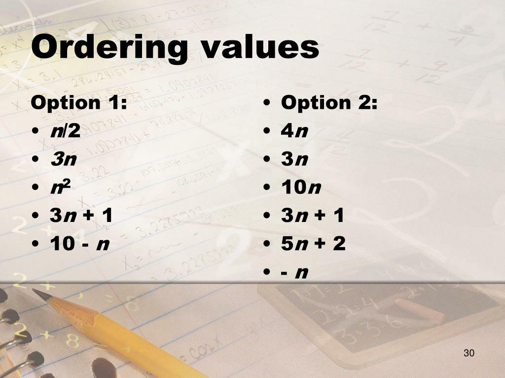 Ordering values