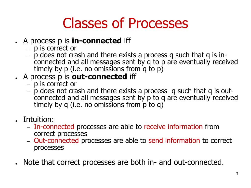 Classes of Processes