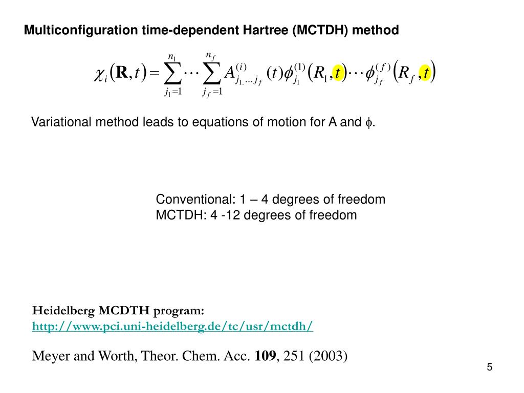 Multiconfiguration time-dependent Hartree (MCTDH) method