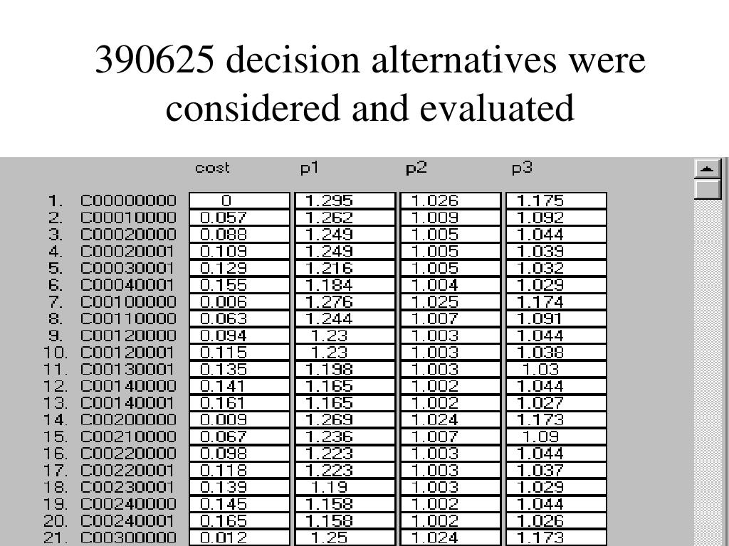 390625 decision alternatives were considered and evaluated