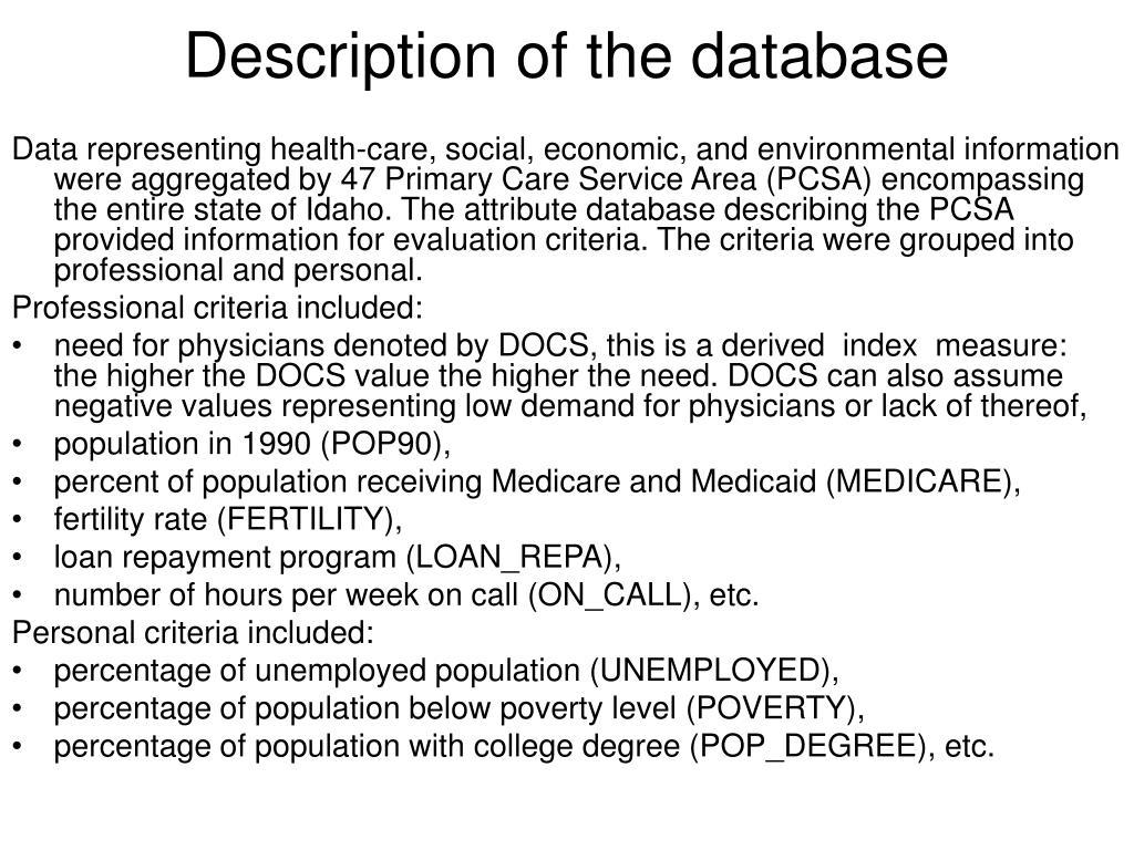 Description of the database