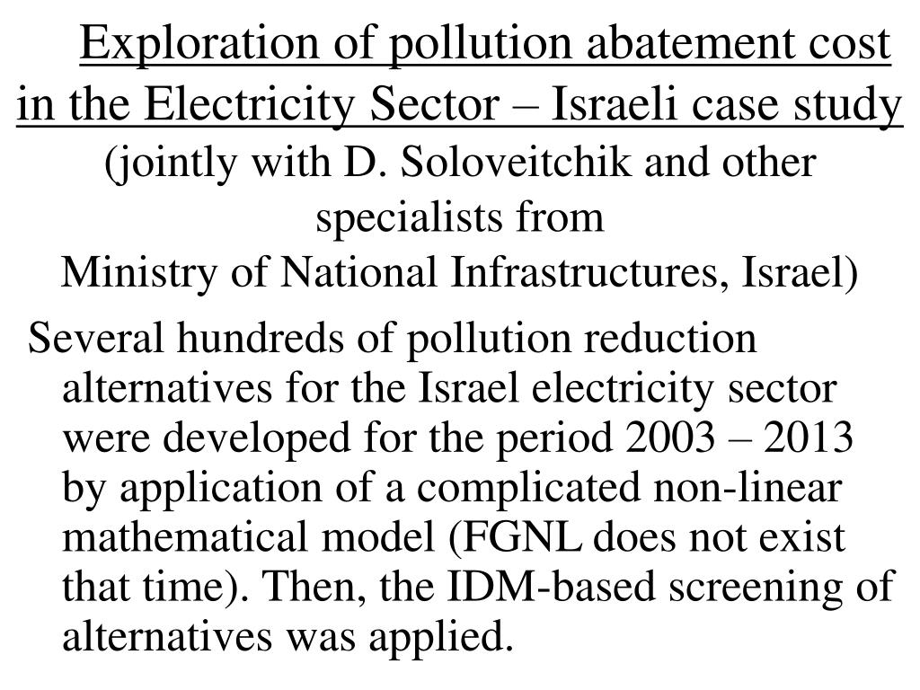 Exploration of pollution abatement cost in the Electricity Sector – Israeli case study