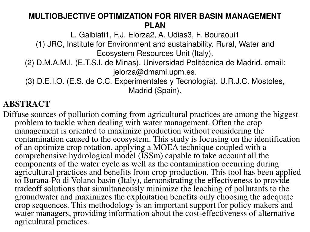 MULTIOBJECTIVE OPTIMIZATION FOR RIVER BASIN MANAGEMENT PLAN