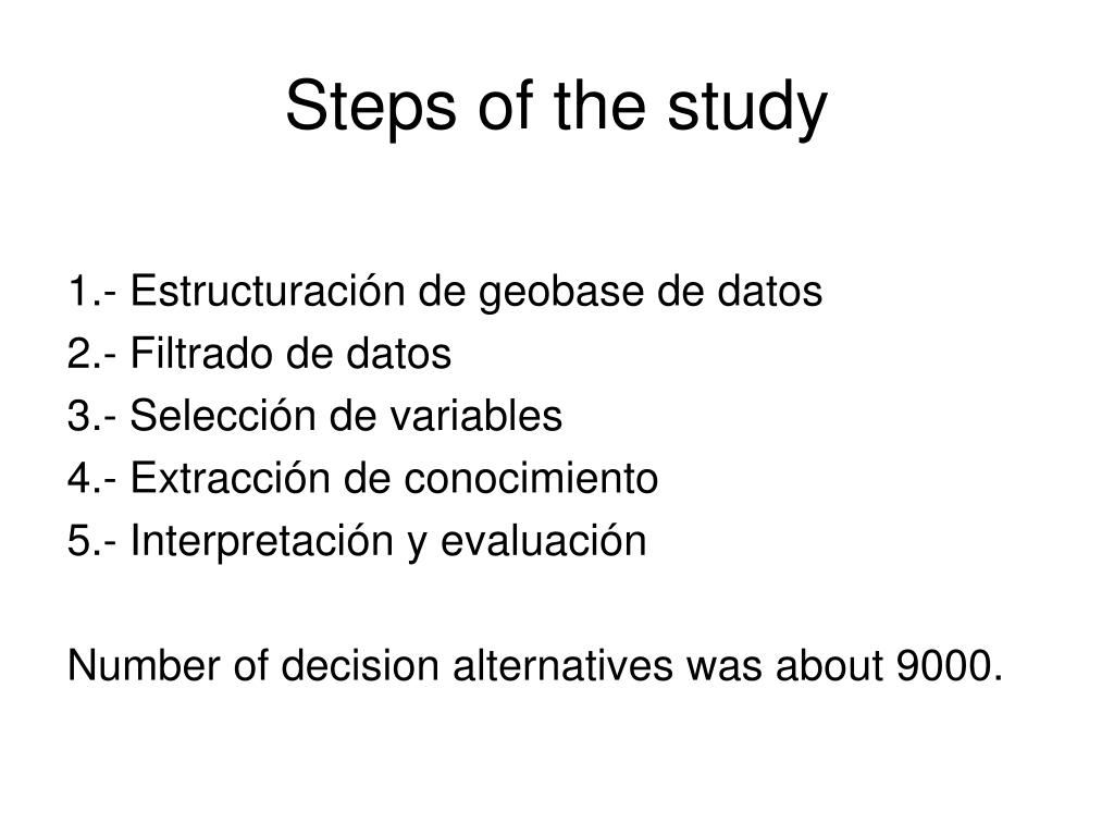 Steps of the study