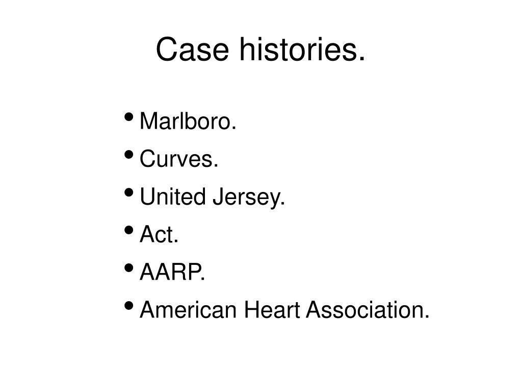Case histories.
