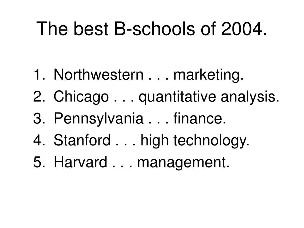 The best B-schools of 2004.