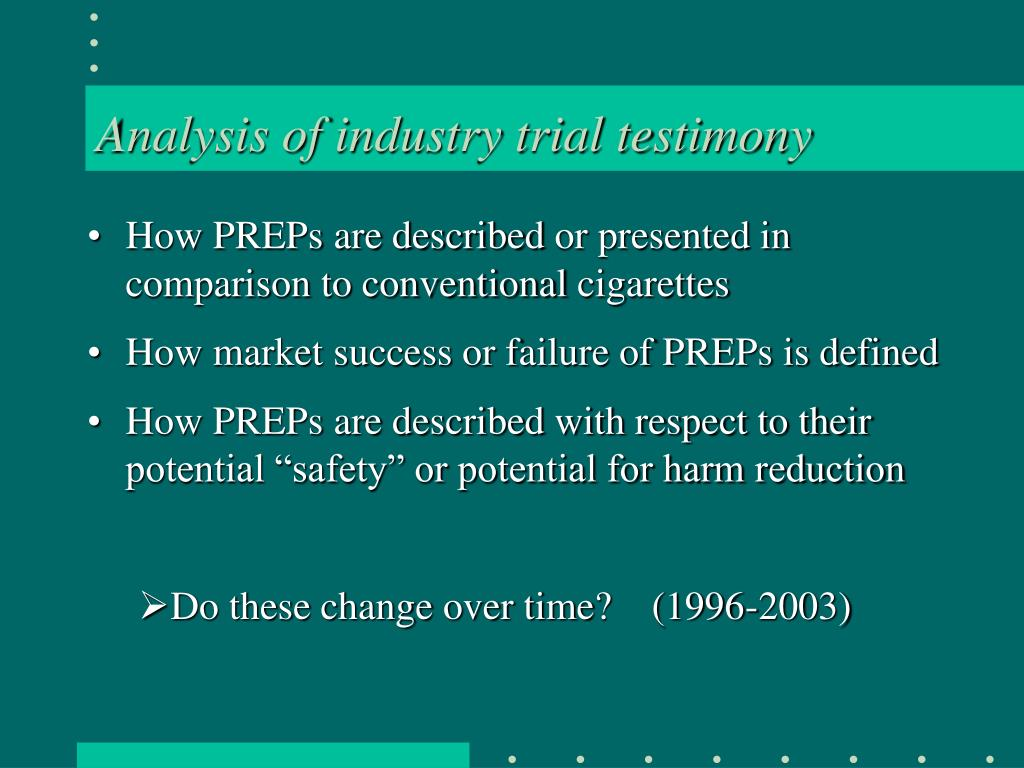 Analysis of industry trial testimony