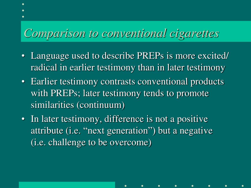 Comparison to conventional cigarettes